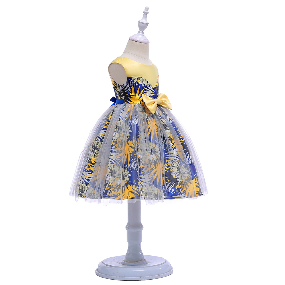 ZT2233 Flower Print Princess Dresses Kids Prom Gown Evening Dresss Wedding Party Dress Girls Clothes Tulle Childrens Costume
