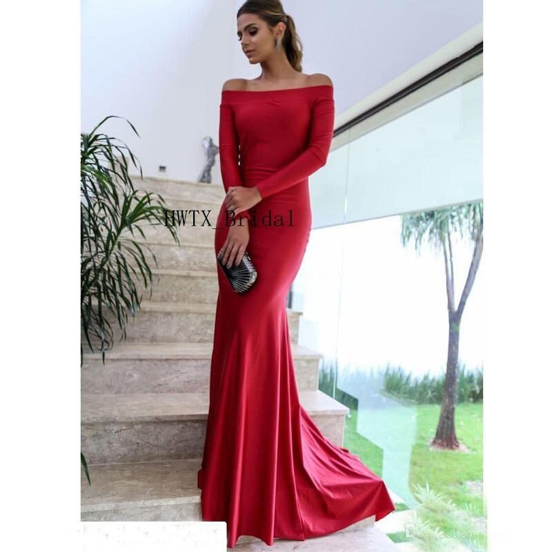 Red Mermaid Evening Dress Abendkleider 2019 Long Sleeve Celebrity Formal Dresses Arabic Boat Neck Prom Gowns Robe de soiree