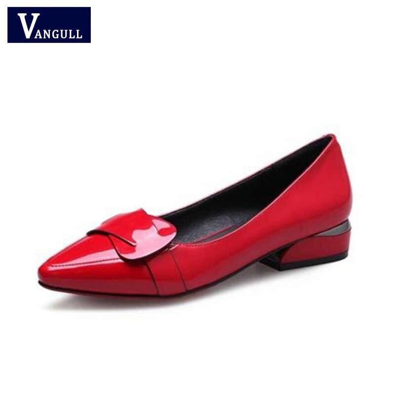 Vangull Nieuwe Vrouwen Lakschoenen OL Loafers Snoep Kleuren Wees Casual Lage Hak Vrouwelijke Zoete Gesp Boot Geel Rood schoenen