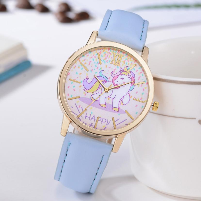 Lovely Girls Students Watches Women New Fashion Cute Cartoon Horse Leather Strap Kids Quartz Watch Sport Beautiful Bracelet A60 fashion cute cartoon pu band students watch