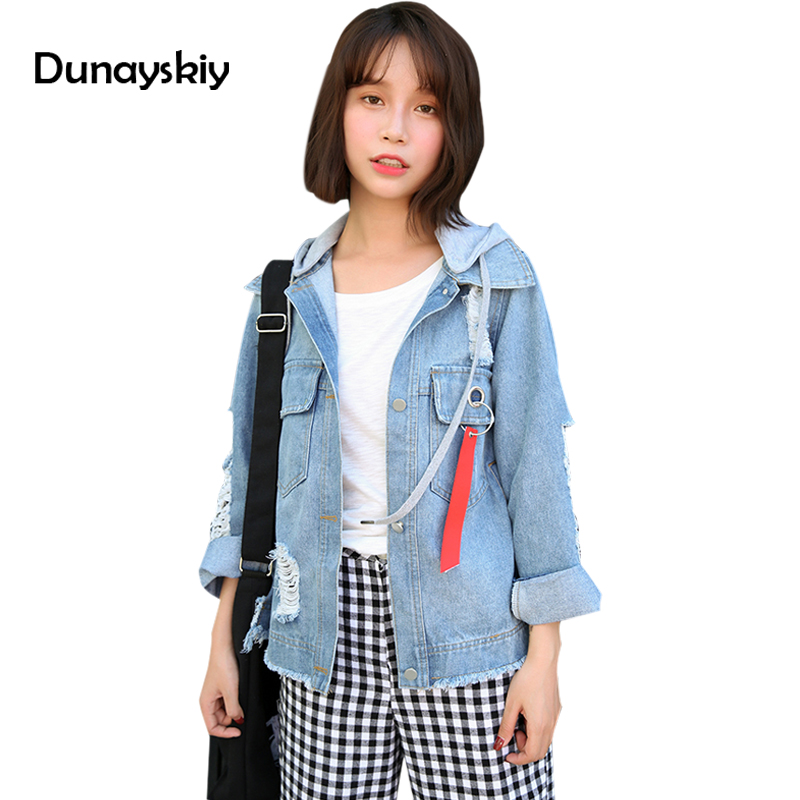 Spring Autumn Jeans   Jacket   Women Bat Sleeved Hooded Denim   Jacket   Coat Hat Removable Denim   Jackets   Outwear   Basic     Jacket   Dunayskiy