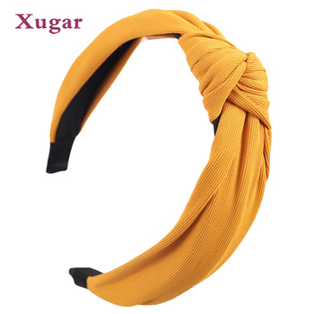 Solid Soft Fabric Knotted Hairband For Women Lady Bow Headband Hair Accessories Headwraps Headwear