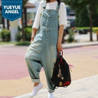 Bleached Ripped Baggy Jeans for Girl 2018 Summer Casual Loose Fit Deep Blue Denim Overalls Strapless Paysuits Women Free Size