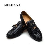 Meijiana marca sapatos masculinos 2019 novo bv respirável confortável mocassins masculinos de luxo sapatos casuais