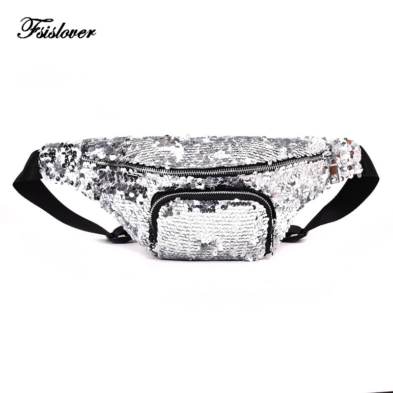 FSISLOVER Reversible Sequin Glitter Waist Fanny Pack Women Silver Mochila Cintura Waist Bag Belt Bag Men Pouch PU Fanny Pack Bag