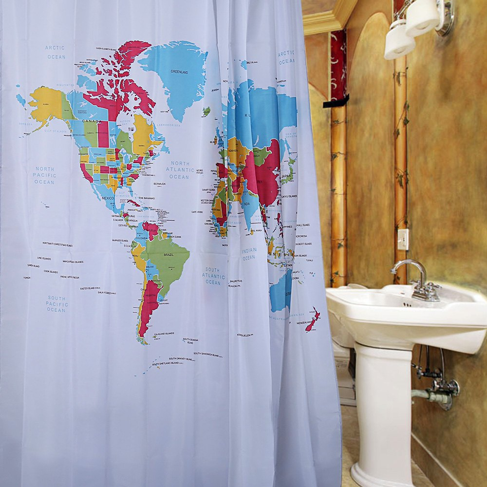 Bathroom plastic curtains - Newest12 Plastic Buckles Creative World Map Design Shower Curtain Pattern Waterproof Polyester Bath Curtain For Hotel