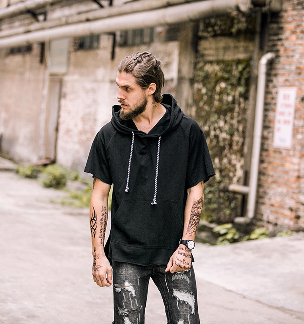 FUTUREOX 2018 moda de verano con capucha hombre camiseta honda manga - Ropa de hombre - foto 4