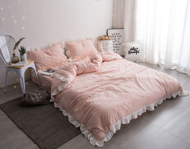 High Quality 100% Cotton Washed Fabric Fancy Girls Princess Bedding Sets Light Pink  Sheets With White Stripe