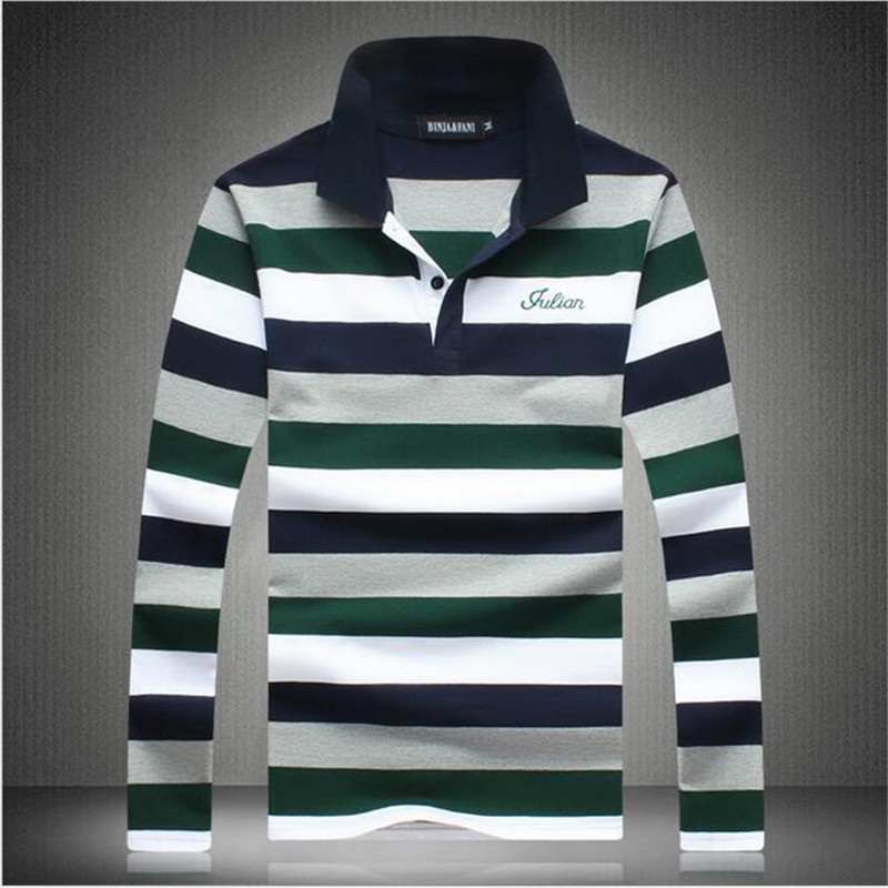 Men Polo Shirt 2016Spring And Autumn New Brand Long Sleeve Striped Polo Men Casual Men'S Big Yard Polo Shirt High Quality A2586