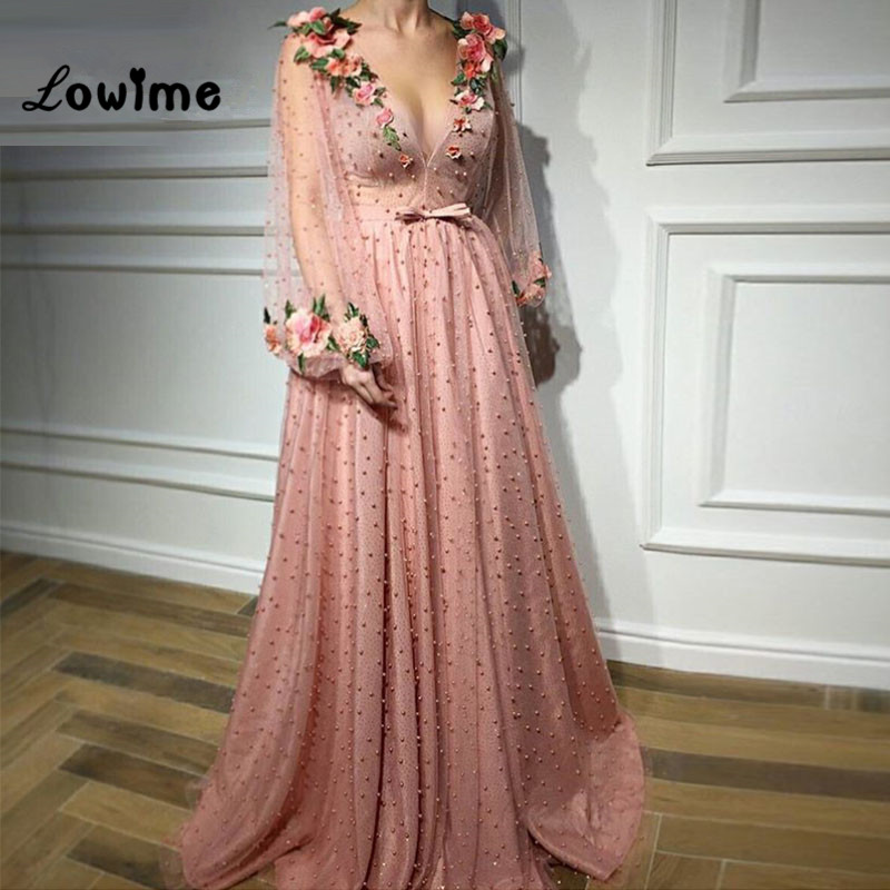 Embroidery   Evening     Dresses   Deep V Neck Prom   Dress   2018 New Arrival Puffy Sleeve Pink Party Gown Vestido De Festa Longo Custom