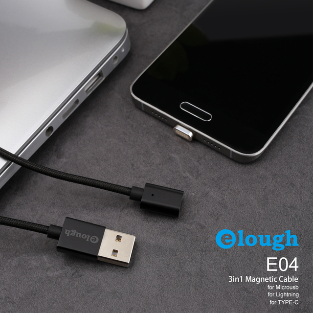 Elough E04 Magnetic Charger USB Cable For iPhone Micro USB Type C Mobile Phone Cable Fast Charging Magnet Charger USB Wire Cord