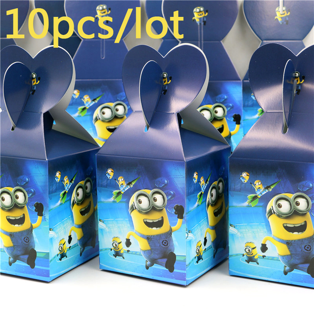 Happy Birthday Party Cartoon Minions Baby Shower Paper Candy Box Kids  Favors Gifts Boxes Decoration Events