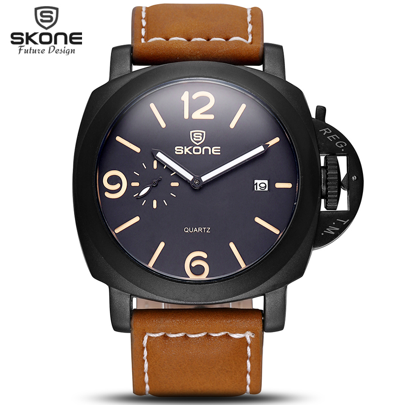 SKONE Full Luminous Victory Mens Watches Auto Date Leather Straps Military Amry Casual Sports Wrist Watch Male relogio masculino skone relogio 9385