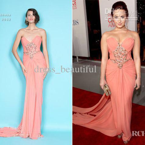 Demi Lovato Sheath Strapless Peach Chiffon Gown Beads Celebrity ...