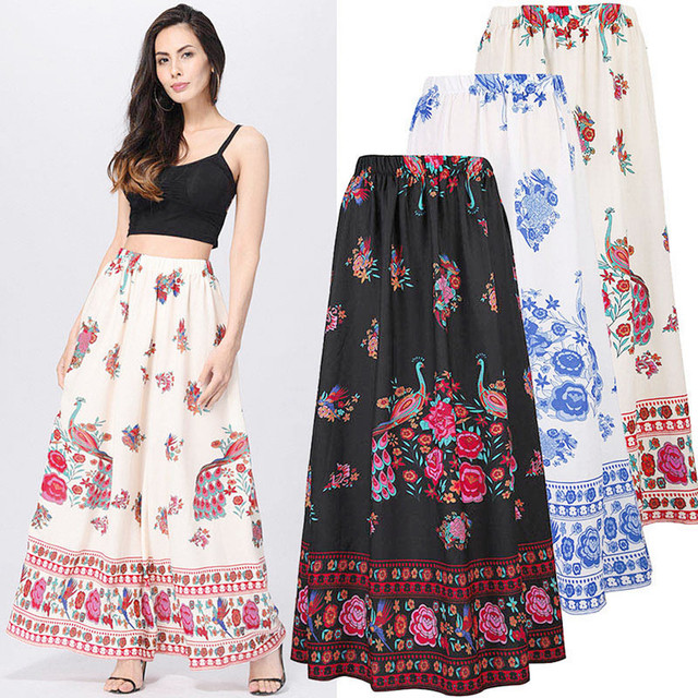 eb29ff816f5410 New Arrived Casual Print Floor-Length Skirt Women Bohemian Maxi Skirt Beach  Floral Holiday Summer High Waist Long Skirt #C