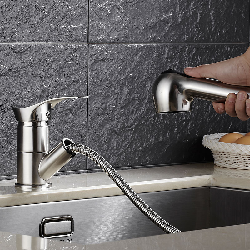 ФОТО Free Shipping Brass Nickel Spring Pull Out Kitchen Faucet Sink Faucet luxury Hot & Cold luxury Water Kitchen Mixer tap