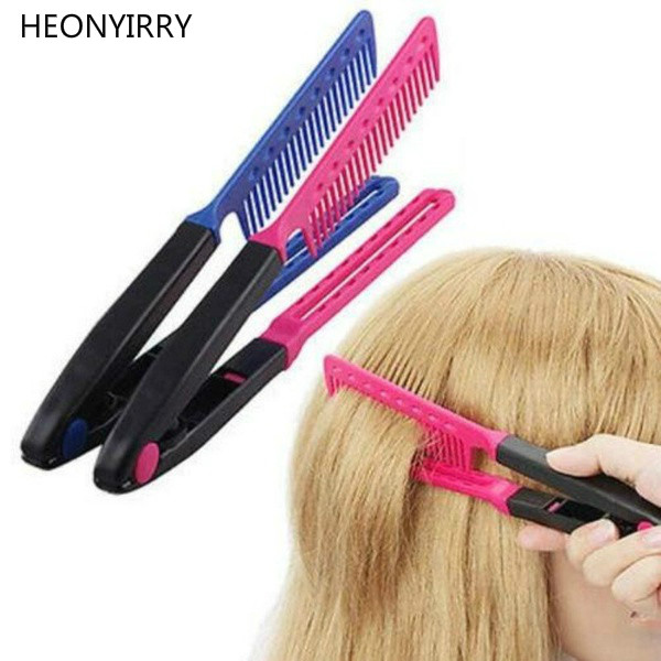 Women Fashion Hair Combs V Type Hair Straightener Comb DIY Salon Haircut Hairdressing Styling Tool Hair Care Comb ...