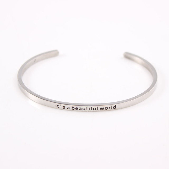 It S A Beautiful Words Positive Engraved Inspirational Bracelets 2017 Silver Stainless Steel Mantra Bangles