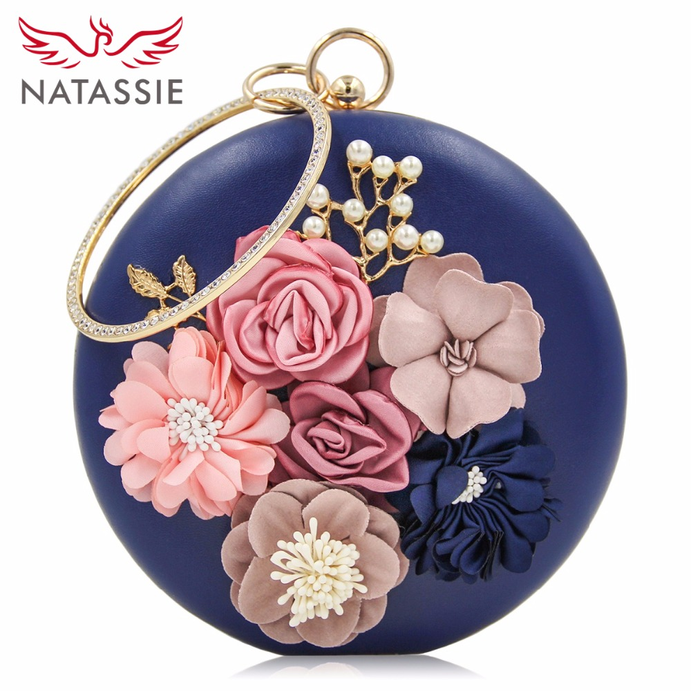 NATASSIE 2018 New Women Purse Party Bag Ladies Flower Wedding Bags Female Evening Clutches
