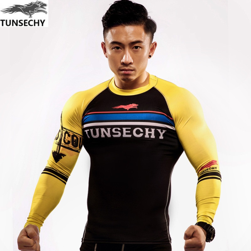 2017 TUNSECHY 3D digital printing  round collar long sleeve T-shirt fashion men lycra tight T-shirts for free shipping