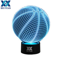 HUI YUAN Creative Gifts basketball  Lamp 3D Deco Vision Desk Lampara Led USB 7 Colors Changing Baby  Sleeping Night Light