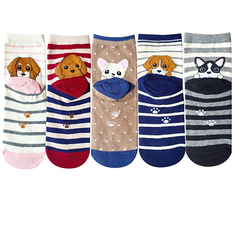 Underwear & Sleepwears Women's Socks & Hosiery Rapture 5 Pairs/lot Womens Cute Pug Bulldog Corgi Dachshund Pet Dog Socks Funny Women Husky Schnauzer Puppy Stripe Dot Cotton Sock