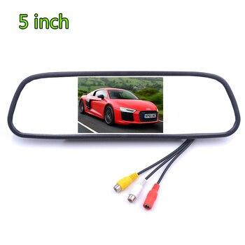 سيارة TFT LCD رصد 5 بوصة HD مرآة الرؤية الخلفية عرض DC12V 24 فولت عكس شاشة السيارة وقوف السيارات صورة احتياطية العرض 1
