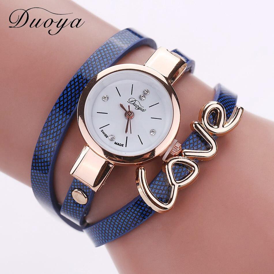 Duoya Fashion Vintage Watch Women Punk Style Pu Leather Bracelet Watches New Love Design Women
