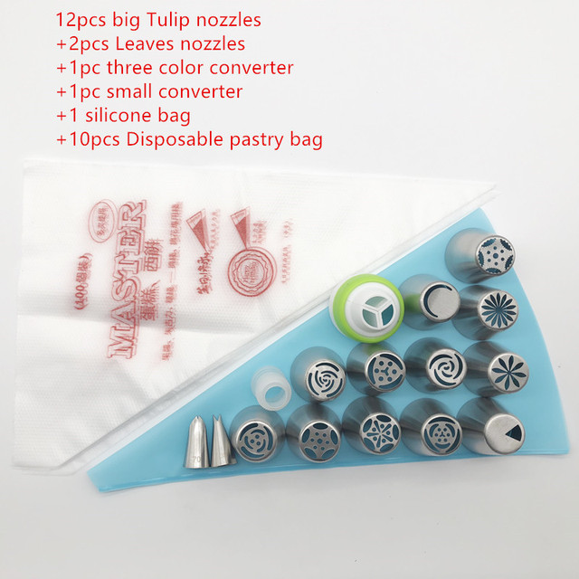 18pcs/Set Russian Piping Tips Stainless Steel Pastry Nozzles For Cream With Pastry Bag Cake Tools Icing Piping Confectionery Tip 1