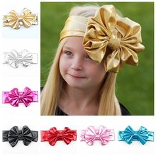 Nishine Newborn Bronzing Color Elastic Girls Knot Bow Headband Kids Children Party Hair Accessories Photoshoot(China)