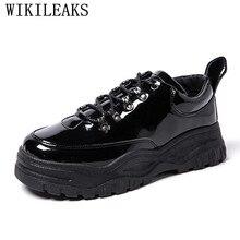 Cuir verni chaussures décontractées hommes de luxe marque noir en Cuir chaussures hommes plate-forme chaussures Chaussure Homme Cuir Tenis Masculino Adulto