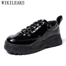 Patent Leather Casual Shoes Men Luxury Brand Black Leather Shoes Men Platform Shoes Chaussure Homme Cuir Tenis Masculino Adulto