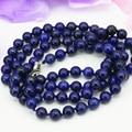 8mm lapis lazuli de piedra natural jasper ronda collar de cadena larga de alta calidad precio al por mayor de joyería de moda 36 pulgadas B3211