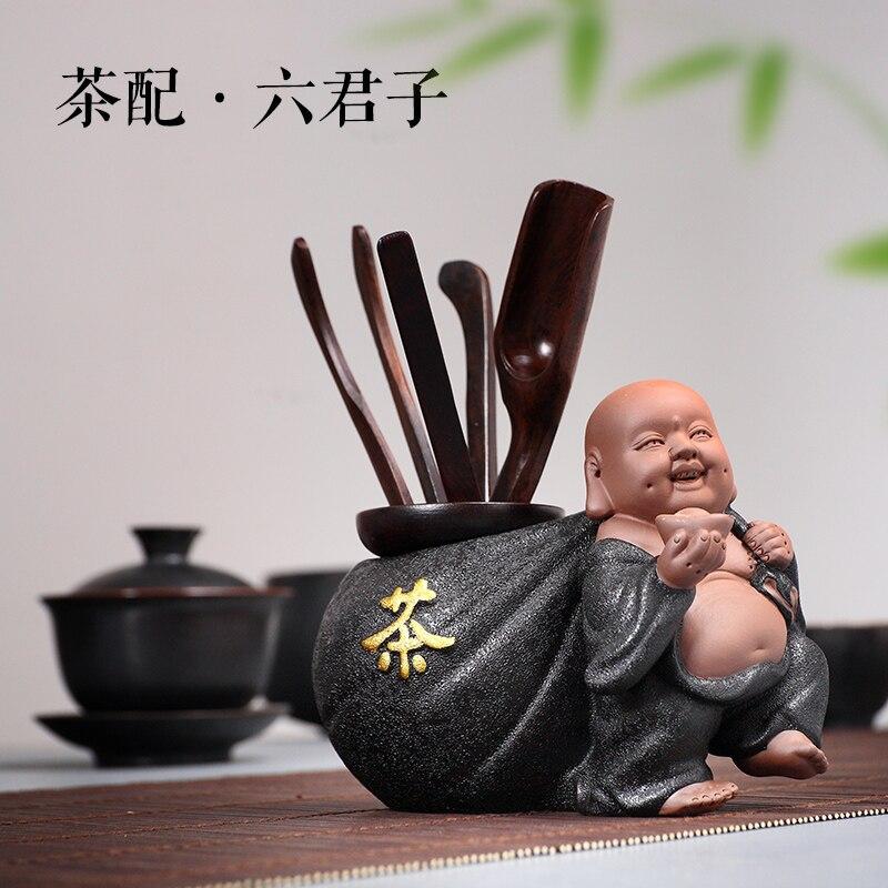 Thé cérémonie Six messieurs Kung Fu set de thé accessoires ensemble complet de bois d'aile de poulet ébène bois massif céramique zéro correspondance - 2