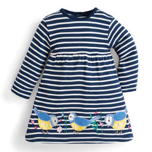 Jumping meters new striped cartoon dresses with applique three cute birds baby girls designed spring autumn clothing hot