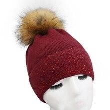 2017 new fashion Wool Blend winter Women Winter Crochet Hat Fur Wool Knit Beanie Raccoon Warm Cap