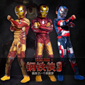 Homem de ferro 3 One-pedaço collant + máscara + meias meninos roupas Halloween roupas infantis menino Vingadores roupa dos miúdos ropa ninos