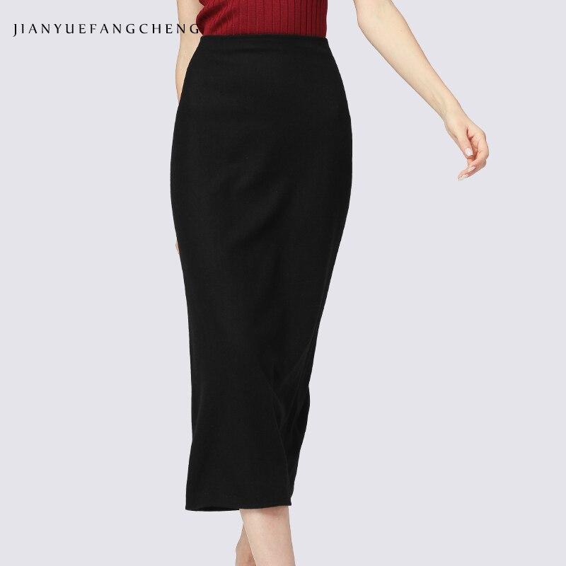 Zipper dames jupes 2018 grande taille hiver chaud longue laine jupe noir côté fente cheville longueur taille haute jupes femmes crayon