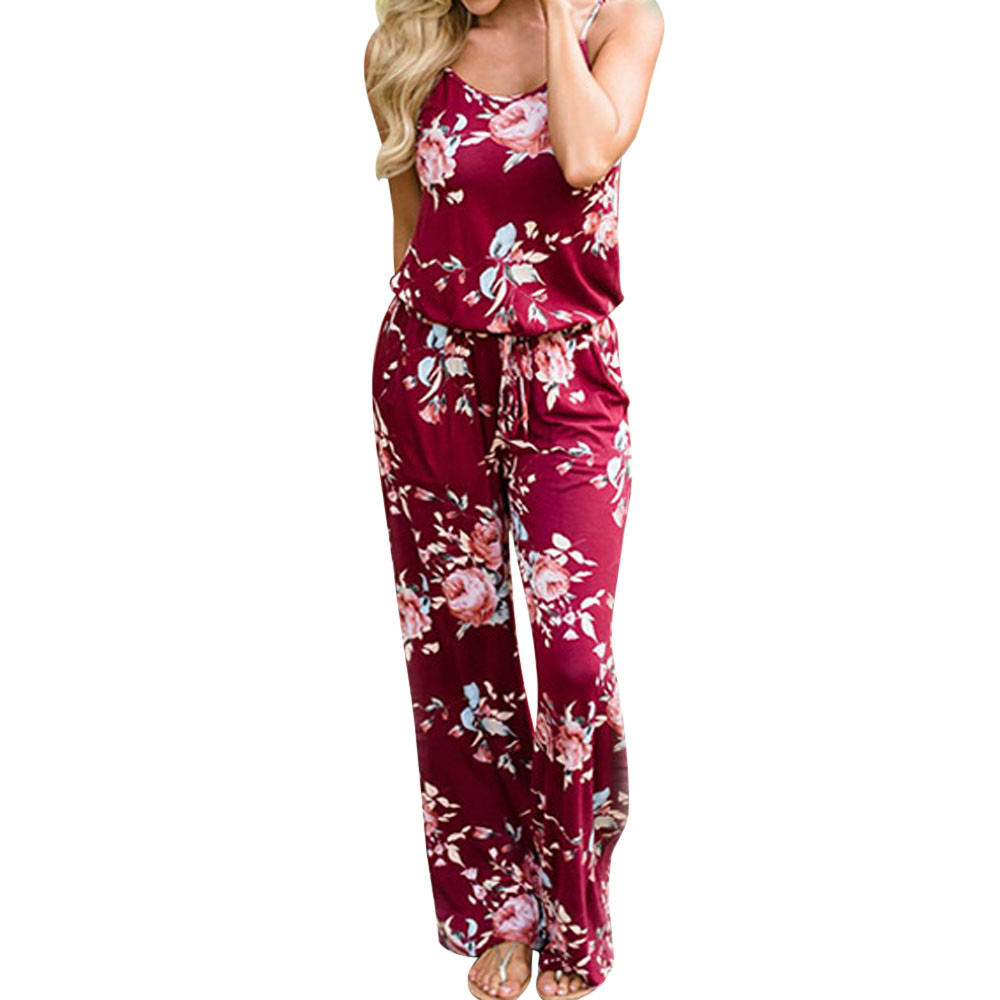 Free Ostrich 2018 Summer Boho Women Floral Sleeveless Holiday Long Playsuits Rompers Spaghetti Strap Jumpsuit Women D1135