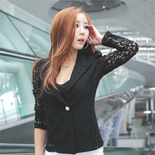 Sexy Sheer Lace Patchwork Blazer Coat Lady Suit