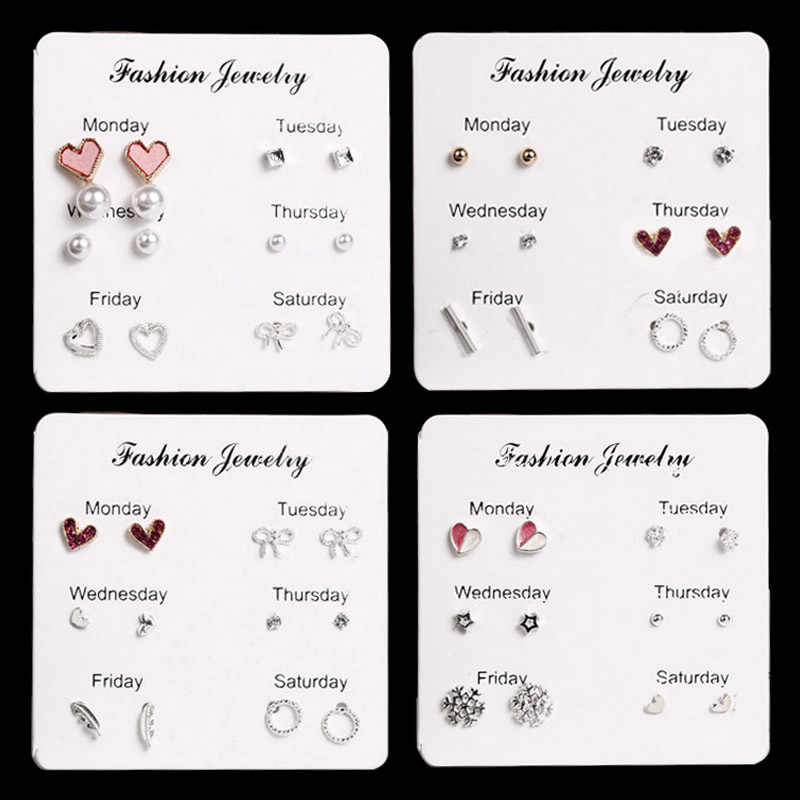 E0265 Bling Earring Sets 6 Pairs / Set Mixed Color Cute Round Stud Earrings For Women Fashion Jewelry Birthday Gift Wholesale