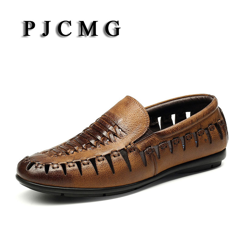 PJCMG Spring/Autumn Black/Brown Slip-On Crocodile Style Casual Men Genuine Leather Moccasins Loafers Men Flats Driving Shoes стоимость