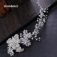 Main diadème de mariée de luxe cristal imitation perle fleur bande de cheveux cheveux de mariage robe de mariage accessoires HF0052