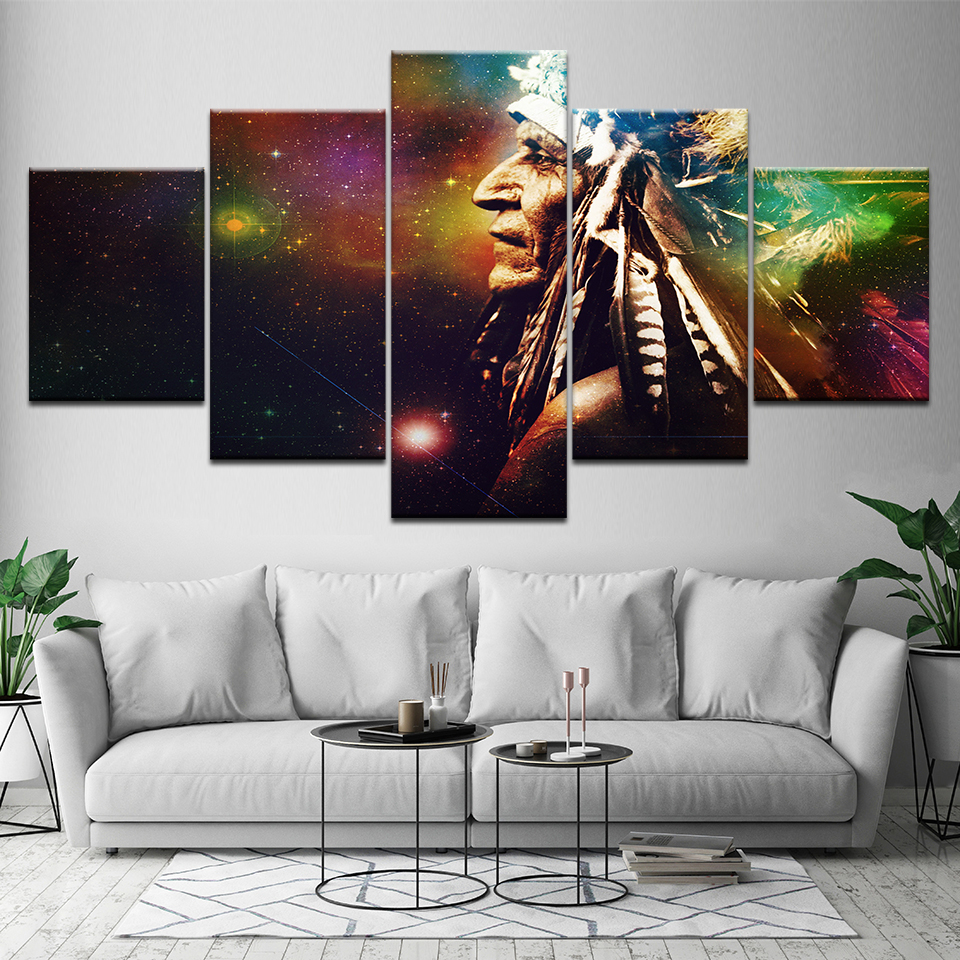 Canvas Painting An old man 5 Pieces Wall Art Painting Modular Wallpapers Poster Print for living room Home Decor