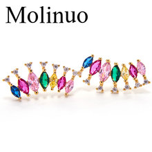 Molinuo rainbow color stud earrings jewelry colorful crystal statement fashion new design inlay cz Earrings for women