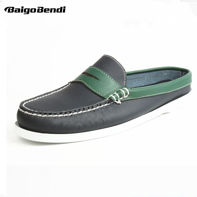 Image 2 - Summer US6 11 EUR Size 45 REAL Leather Casual SLIP ON Men Penny Loafer Leather Mules Open Back Slippers Casual Beach Shoes-in Men's Casual Shoes from Shoes
