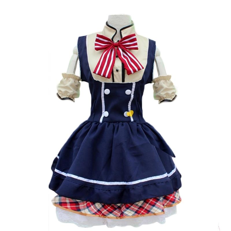 New Blue French Maid Dress font b Women b font Sweet Lolita Dress font b Anime