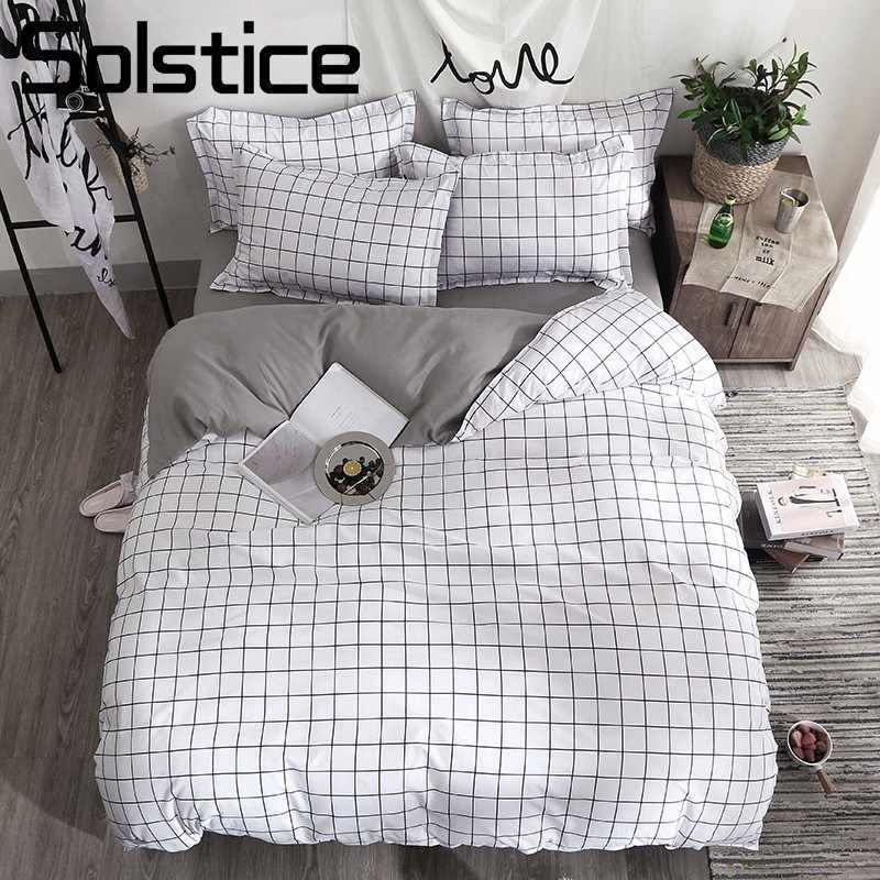 Solstice Home Textile Black Lattice Duvet Cover Pillowcase Bed Sheet Simple Boy Girls Bedding Sets 3/4Pcs Single Double Bedlinen