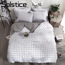 Solstice Home Textile Black Lattice Duvet Cover Pillowcase Bed Sheet Simple Boy Girls Bedding Sets 3/4Pcs Single Double Bedlinen(China)