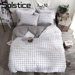 Solstice Home Textile Black Lattice Duvet Cover Pillowcase Bed Sheet Simple Boy Girls Bedding Sets 3/4Pcs Single Double Bedlinen